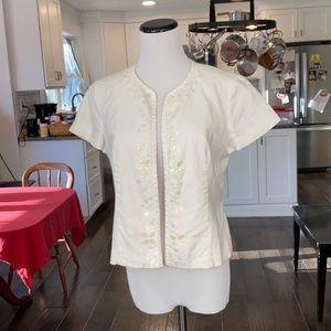 Kasper Cream Linen Beaded Accent Jacket, Size 6P